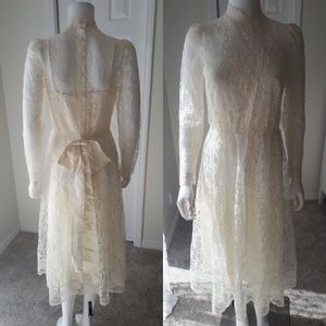 Vintage Edwardian Style Boho Lace Dress